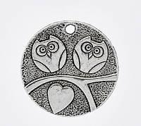 """Подвеска """"Сова """", 25 mm, Античное серебро"""