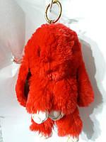 Меховый красный заяц- кролик брелок на сумку. Аксессуары от бижутерии RRR. 23
