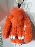 Оранжевый меховой заяц. Брелоки на сумку оптом. 21