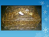 Набор из 3-х корзин из проволоки, с орнаментом, прямоугольные, золотые