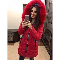 Пуховик женский пальто стильное зимнее №328 (холофайбер) красное