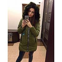 Пуховик женский пальто стильное зимнее №328 (холофайбер) хаки