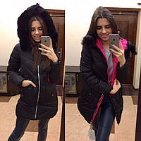 Пуховик женский пальто стильное зимнее №328 (холофайбер) черное
