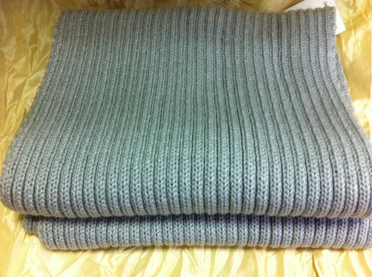 Мужской вязаный шарф цвет  светло серый
