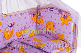 """Постільний набір в дитячу ліжечко (8 предметів) Premium """"Ведмедики на місяці"""" фіолетовий"""
