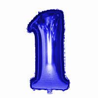 """Шар фольгированный синий, цифра """"1"""" (90 см)"""