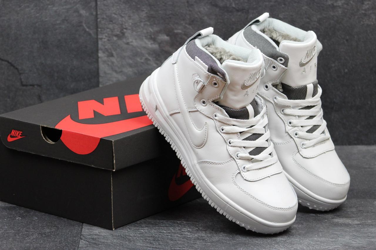 6199857a Женские зимние кроссовки Nike Air Force кожаные белые высокие (Реплика ААА+)