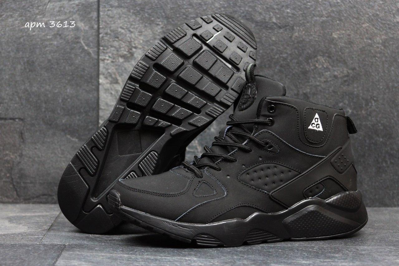 Высокие кроссовки Nike air Huarache,на меху черные,нубук 43р