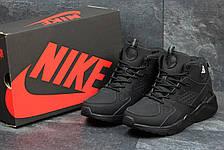 Высокие кроссовки Nike air Huarache,на меху черные,нубук 43р, фото 3