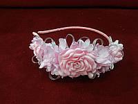 Обруч из цветов (венок цветочный) розовый для взрослых и детей