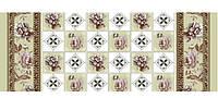 Скатерть нетканная двухслойная HONGDA Троянда-шахматка 8503-1, рулон 1,40м*20м*0,17м, ПВХ, з боковим візерунком