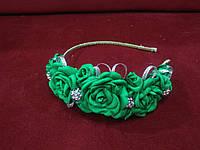 Венок-ободок (обруч) из цветов зеленый для взрослых и детей