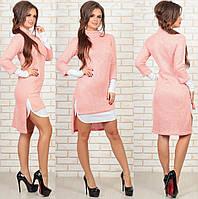 Платье двойка - зима. Пудра+белый, 3 цвета. Р-р: 44, 46, 48.