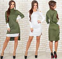 Платье двойка - зима. Хаки+белый, 3 цвета. Р-р: 44, 46, 48.