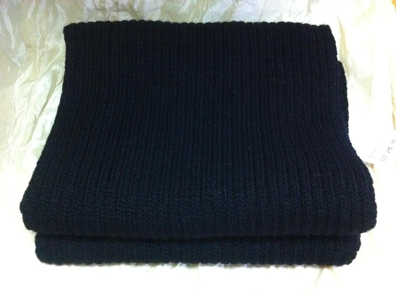 Тёплый вязаный шарф цвет чёрный 160*24