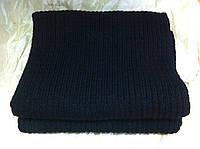 Тёплый вязаный шарф цвет чёрный 160*24, фото 1