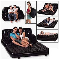 Надувний диван-ліжко з насосом SOFA BED Софа Бед 5 в 1