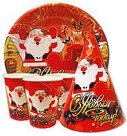 """Набор посуды на Новый год """"Дед Мороз"""". Тарелки, стаканы, колпачки по 10 шт."""