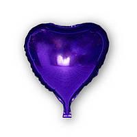 Фольгированный шар - сердце фиолетовое 43х48см. Воздушные шарики оптом.