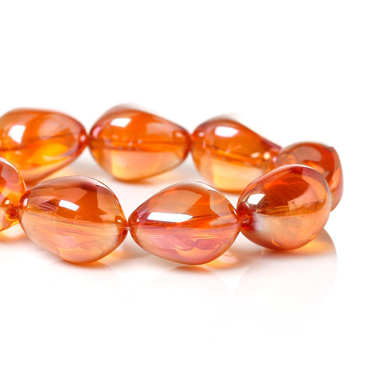 Стеклянная Бусина, Капля, Оранжевая, Шлифованная, 17.0 мм x 14.0 мм, 1.3 мм