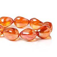 Стеклянная Бусина, Капля, Оранжевая, Шлифованная, 17.0 мм x 14.0 мм, 1.3 мм, фото 1
