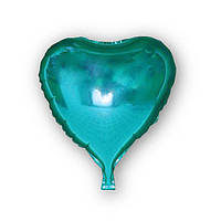Фольгированный шар - сердце голубое 43х48см. Воздушные шарики оптом.