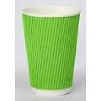Стакан бумажный гофрированый зеленый 350 мл 25 шт
