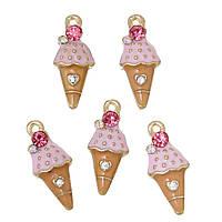 Подвеска Мороженое, Цинковый сплав, Светло-золотая, Разноцветная, Розовый страз, Эмаль, 23 мм x 10 мм