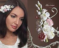 """Заколка с цветами """"Зефирно-карамельная нежность"""" Свадебные украшения для волос. Все для свадьбы"""