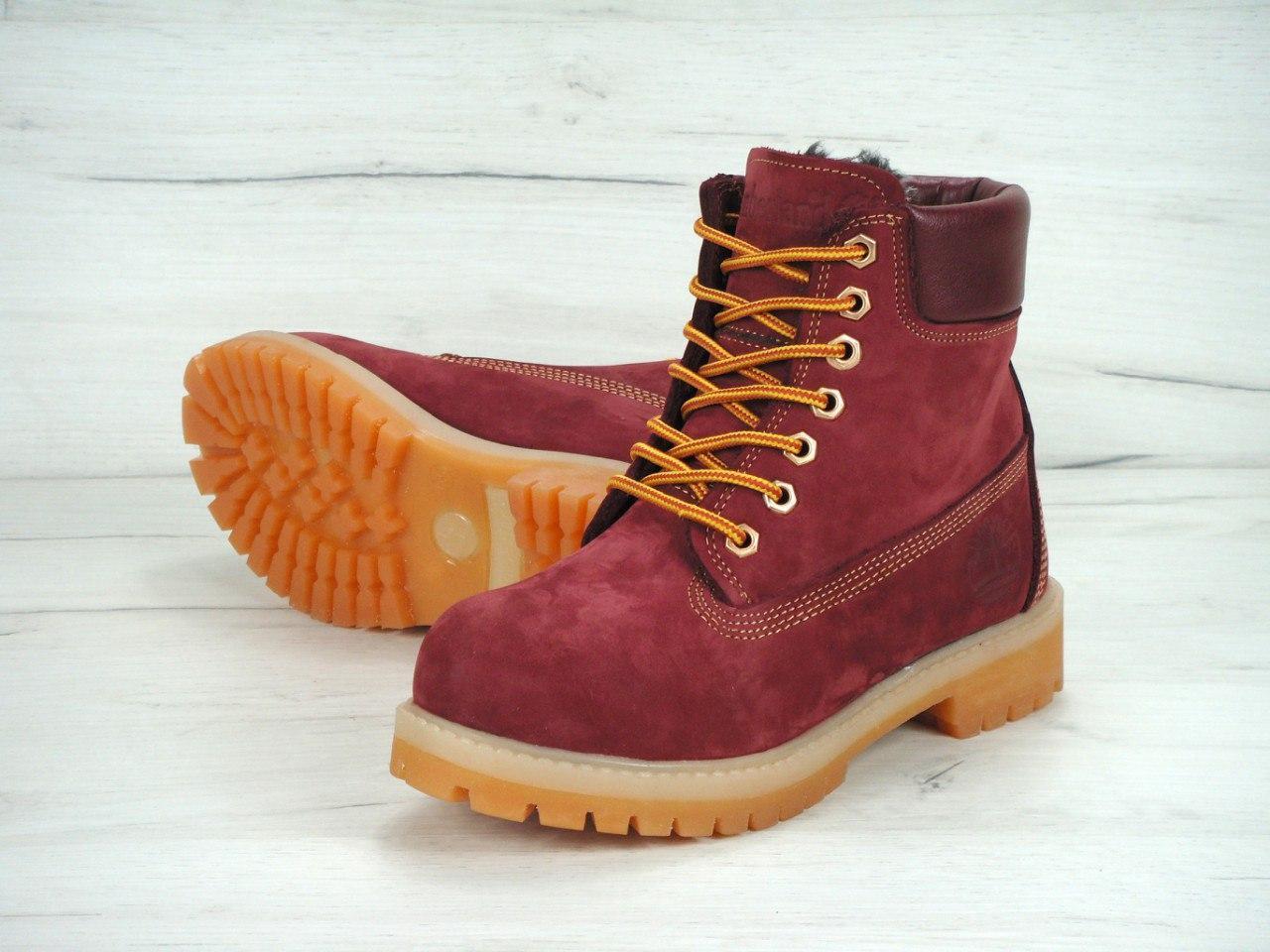 3bc6382a Женские зимние ботинки Timberland bordo с мехом (Реплика ААА+) - Интернет  супермаркет -