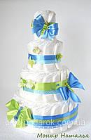 """Оригинальный подарок новорожденному. Торт из памперсов """"Бабочки"""" 85 шт."""