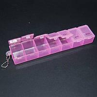 Органайзер для рукоделия 7 отделений 35 х 155 мм (таблетница) розовый