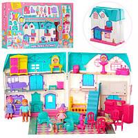 Детский игрушечный домик 1205, 23-24-13,5см, звук, свет, мебель, фигурки, 2вида, на бат-ке,в кор-ке,88-48,5-8с