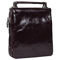 Стильная мужская кожаная сумка-барсетка лакированная коричневая Lare Boss LB004705-31-2051