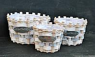 Набор из 3х круглых красивых  корзинок 043