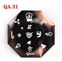 Диск для стемпинга QA-31 Новогодний дизайн