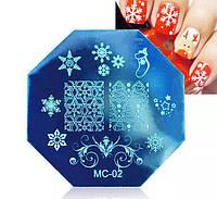Диск для стемпинга МС-02 Новогодний дизайн