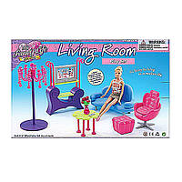 Мебель для куклы для гостинной Gloria: диван,  кресло,  столик,  пуфик,  телев.,  35*23*6  см. (в коробке ),  арт. 2904