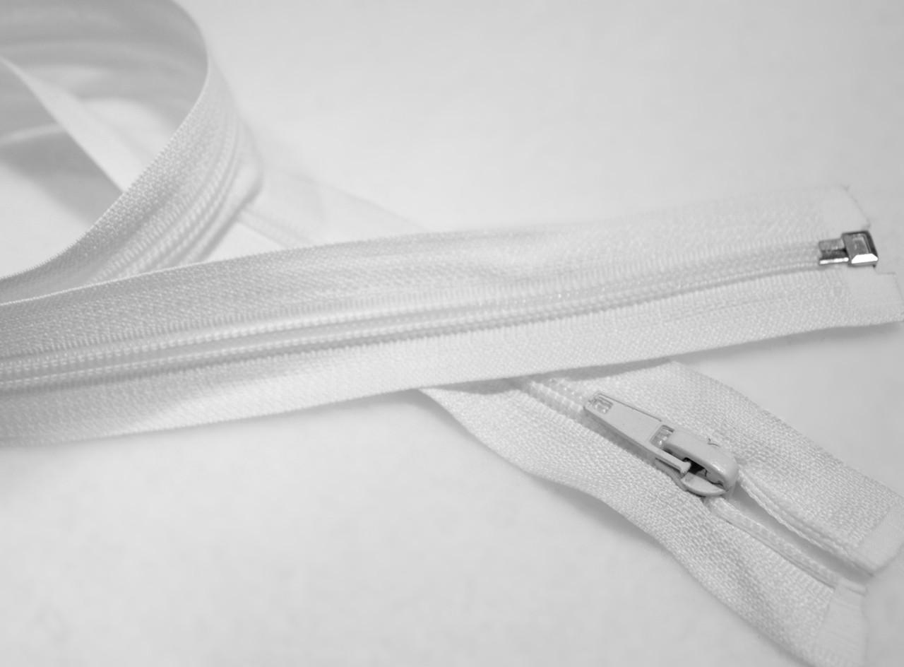 Молния (змейка) белая разъемная (спиральная, №5, 80см)