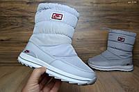 Сапоги женские дутики Nike с мехом серые (зимние сапоги)
