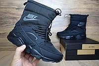 Сапоги женские дутики Nike Huarache с мехом черные (зимние сапоги) (Реплика ААА+)