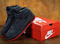 Зимние кроссовки Nike Air Force 1 High Grey с мехом (Реплика ААА+), фото 1