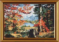 """Набор для вышивания нитками на белой канве """"Осень в долине"""", 42*28с"""