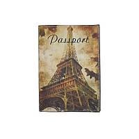 """Кожаная обложка на паспорт """"Эйфелева башня"""""""