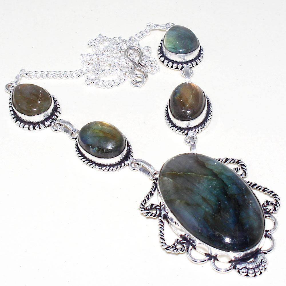 Оригинальное ожерелье с камнем лабрадор в серебре. Индия!