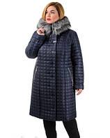 Зимнее женское пальто батал Кубик с чернобуркой