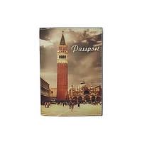 "Кожаная обложка на паспорт ""Вечерняя Венеция"""