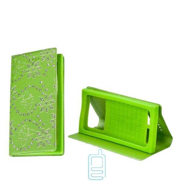 Универсальный чехол-книжка стразы без окна 3.5-3.7″ 6#-XS зеленый