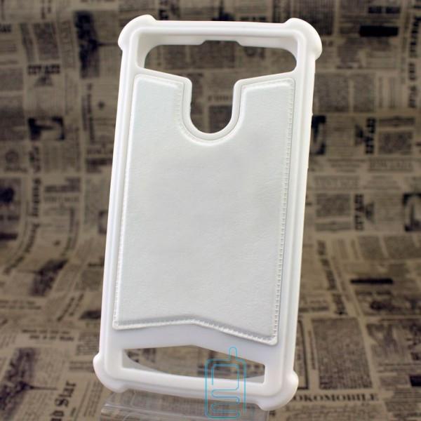 Универсальный чехол-накладка силикон-кожа 3.5-4.0″ белый