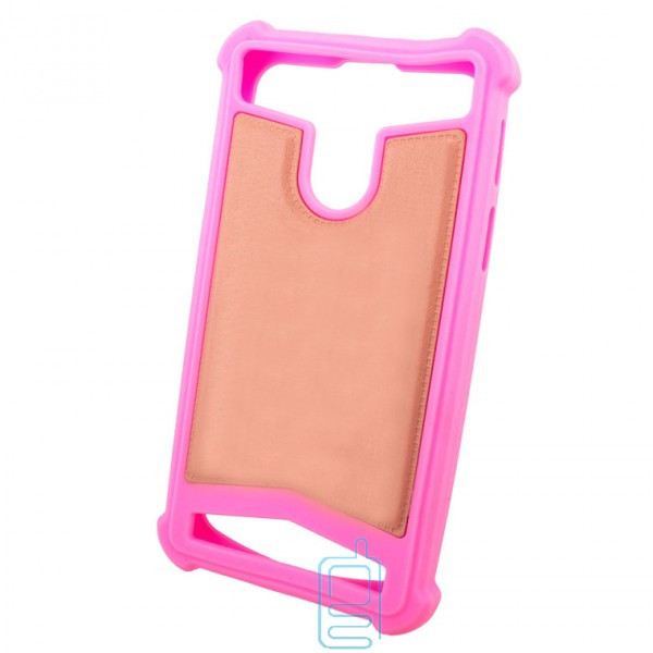 Универсальный чехол-накладка силикон-кожа 5.0-5.5″ розовый